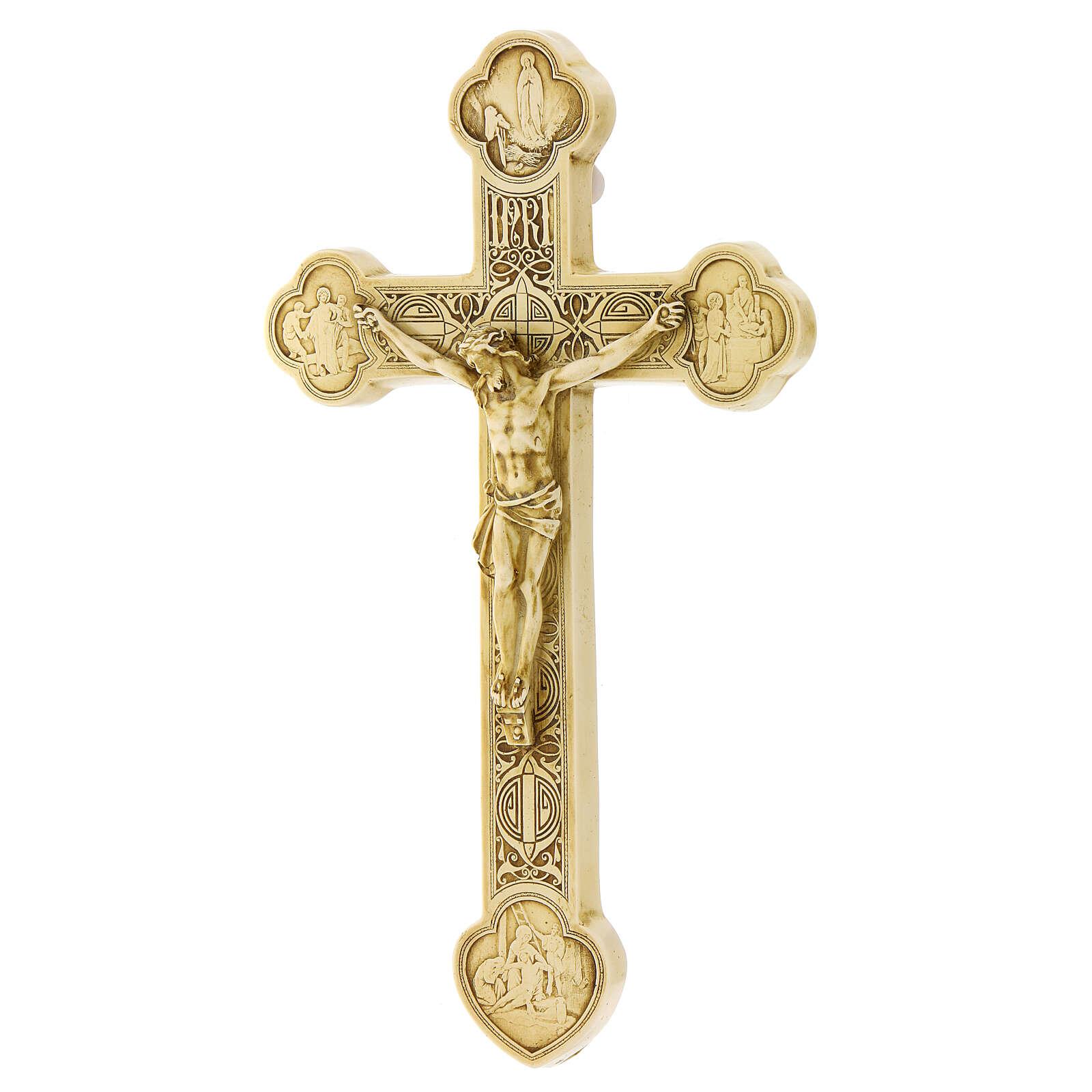 Crocefisso di Lourdes pietra color avorio Bethléem 25x15 cm 4