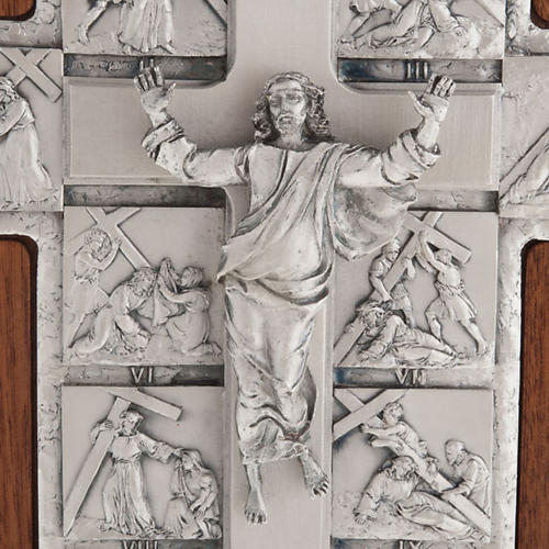 Silver crucifix on wooden cross with Way of the Cross, 14 statio 4