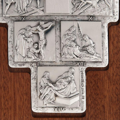 Silver crucifix on wooden cross with Way of the Cross, 14 statio 5