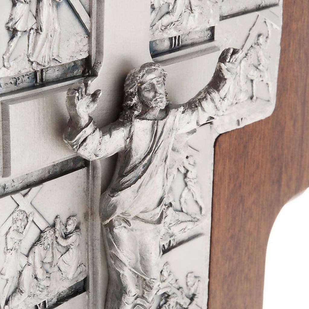Crucifijo de plata Camino de la cruz 14 estaciones cruz de mader 4