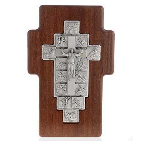 Crucifijo de plata Camino de la cruz 14 estaciones cruz de mader s1