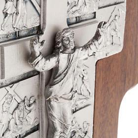 Crucifijo de plata Camino de la cruz 14 estaciones cruz de mader s3