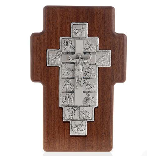 Crucifijo de plata Camino de la cruz 14 estaciones cruz de mader 1