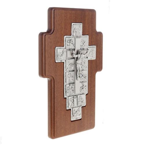 Crucifijo de plata Camino de la cruz 14 estaciones cruz de mader 2