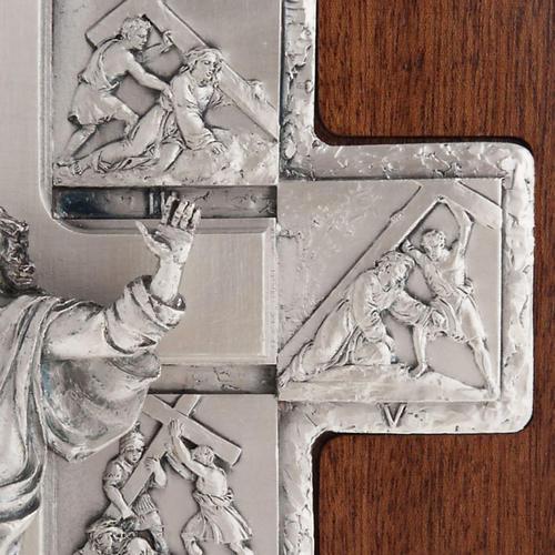 Crucifijo de plata Camino de la cruz 14 estaciones cruz de mader 6