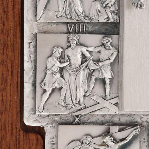 Crocifisso argento Via Crucis 14 stazioni su croce legno 7