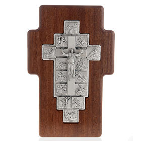 Silver crucifix on wooden cross with Way of the Cross, 14 stations s1