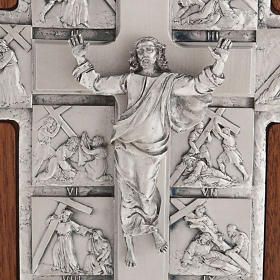 Silver crucifix on wooden cross with Way of the Cross, 14 stations s4