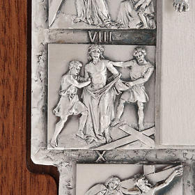 Silver crucifix on wooden cross with Way of the Cross, 14 stations s7