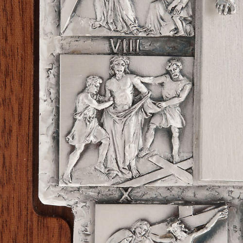 Silver crucifix on wooden cross with Way of the Cross, 14 stations 7