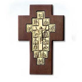 Crocifisso Via Crucis dorato 14 stazioni su croce legno s1