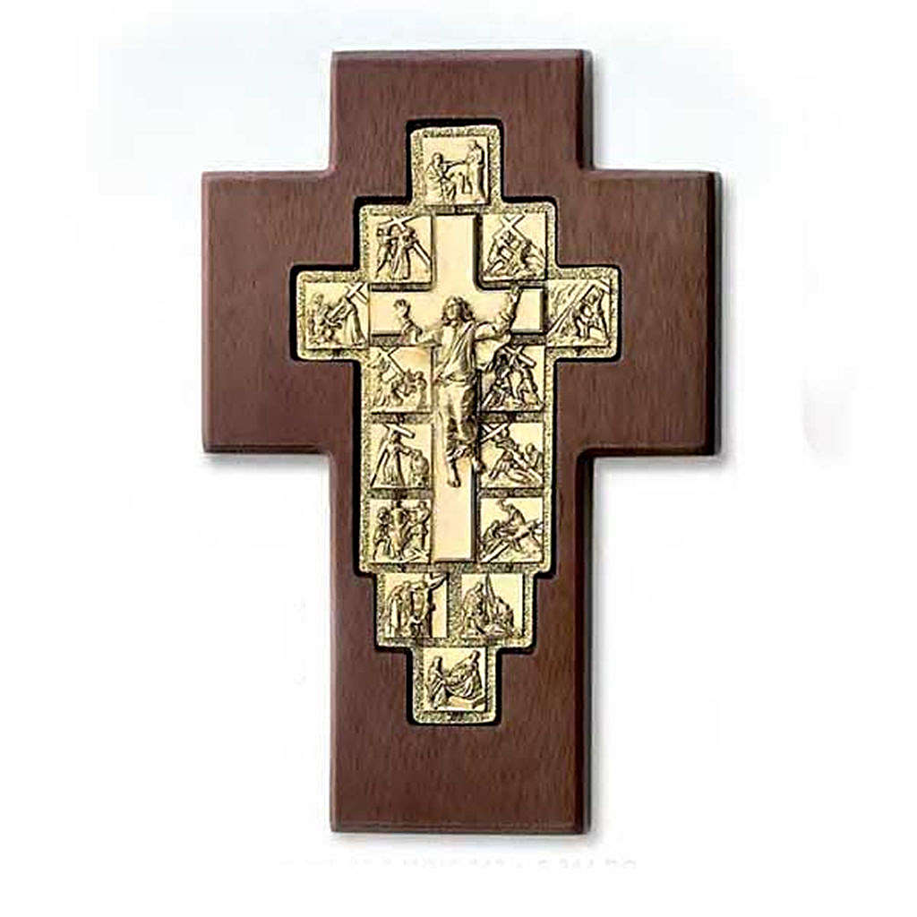 Golden crucifix on wooden cross with Way of the Cross, 14 stations 4