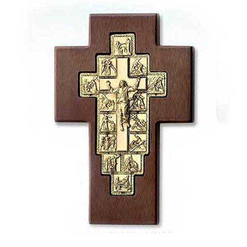 Golden crucifix on wooden cross with Way of the Cross, 14 stations 1
