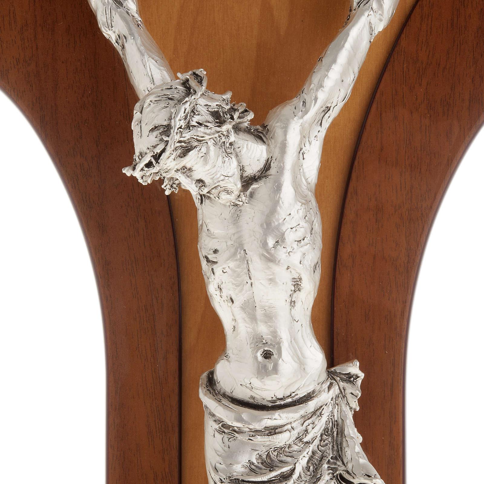Crocifisso legno di mogano corpo metallo argentato 4