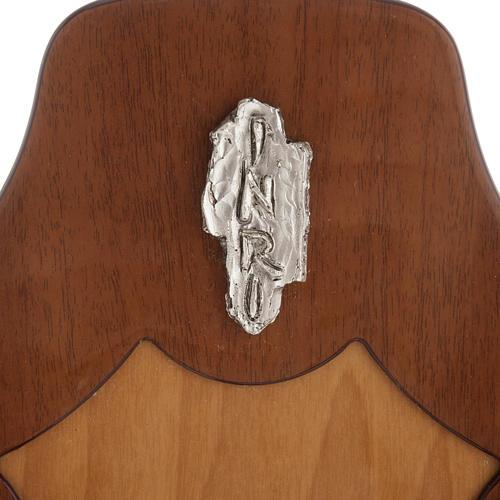 Crocifisso legno di mogano corpo metallo argentato 3