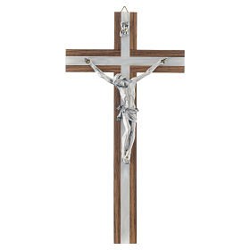 Crucifix in dark wood with pearly metal insert s1