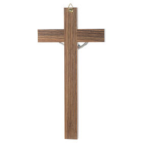 Crucifix in dark wood with pearly metal insert s4