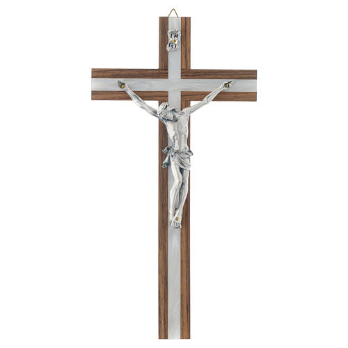 Crucifix in dark wood with pearly metal insert 1