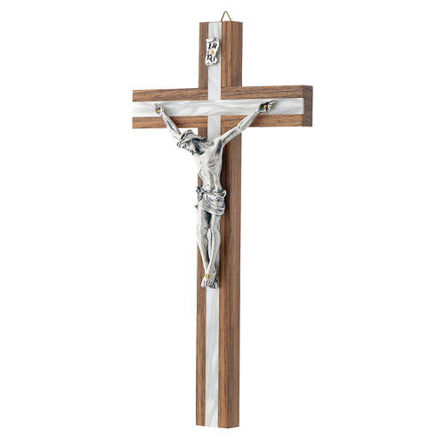 Crucifix in dark wood with pearly metal insert 2
