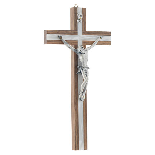 Crucifix in dark wood with pearly metal insert 3
