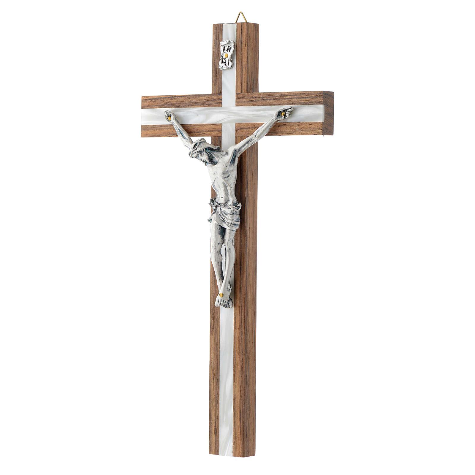 Crocifisso legno scuro e metallo inserto similperla 4