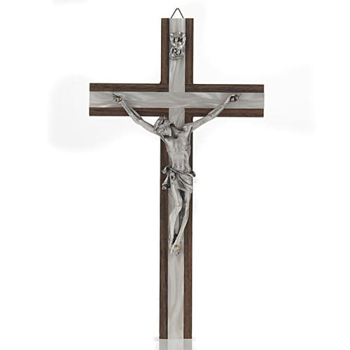 Crucifix in light wood with pearly metal insert 1