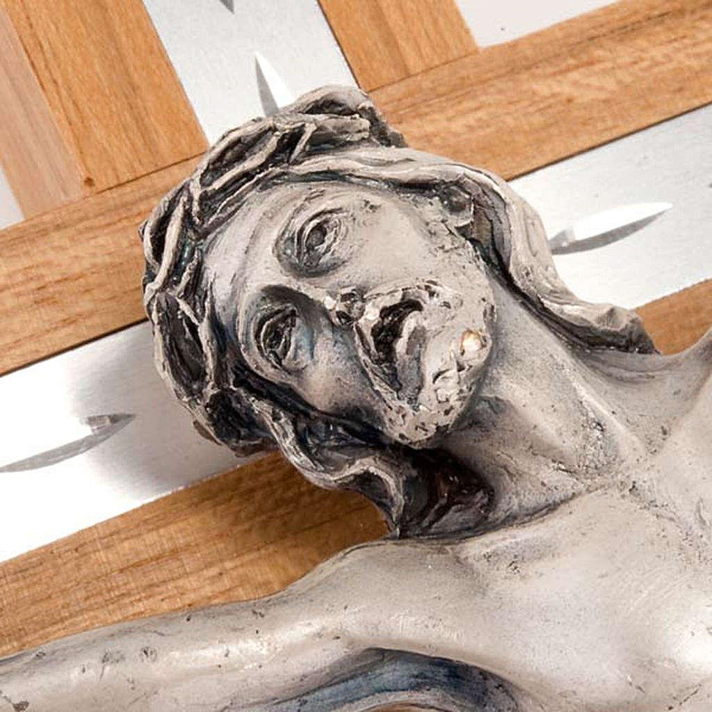 Crocifisso legno noce e alluminio corpo metallo argentato 4