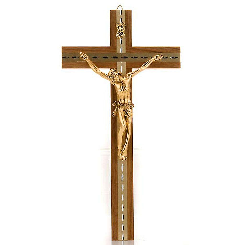 Crocifisso legno noce chiaro alluminio corpo metallo dorato 4
