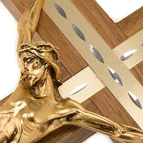 Crocifisso legno noce chiaro alluminio corpo metallo dorato s4