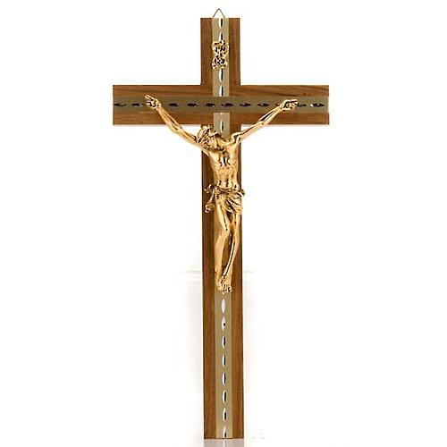 Crocifisso legno noce chiaro alluminio corpo metallo dorato 1