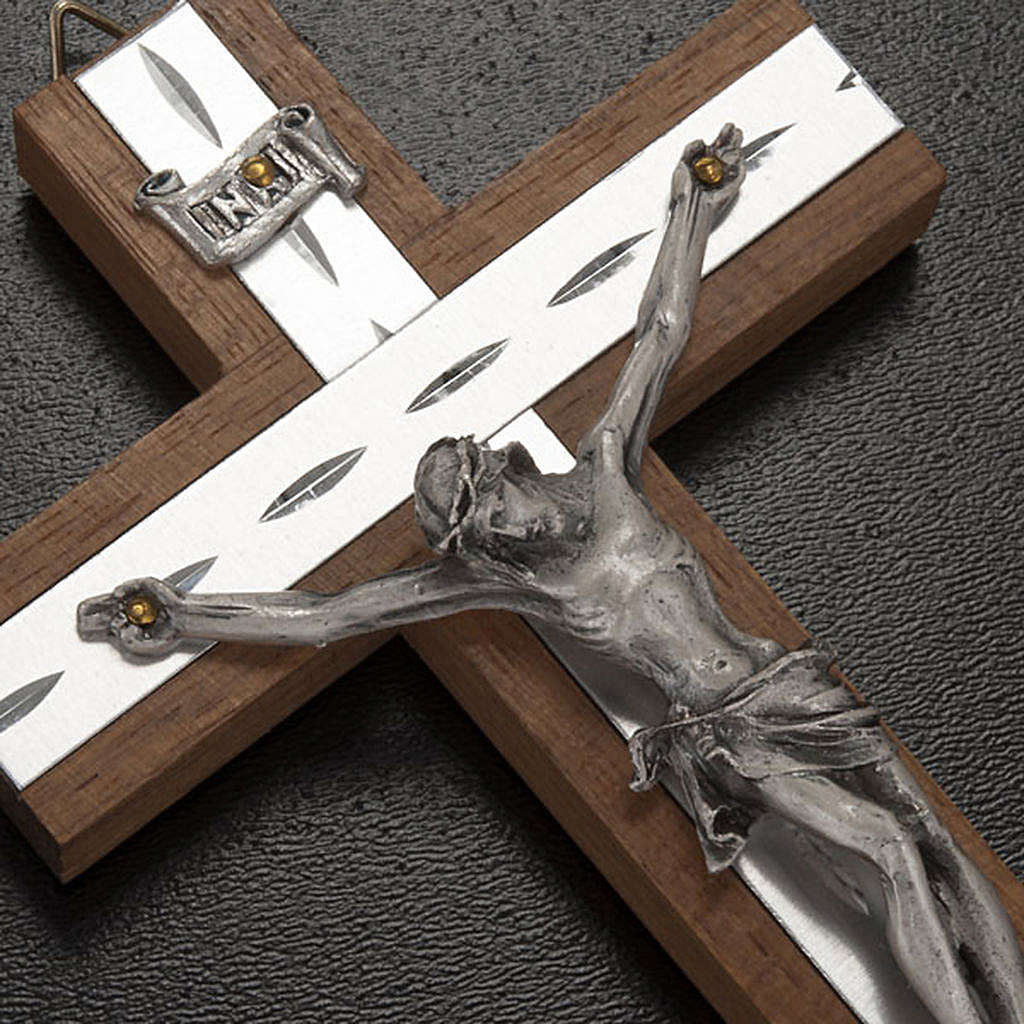 Crucifijo metal plateado, madera, aluminio 4