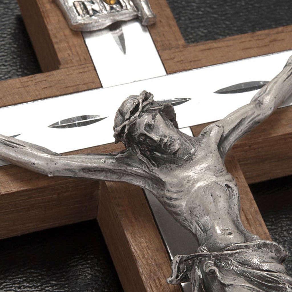Crocefisso metallo argentato legno alluminio 4