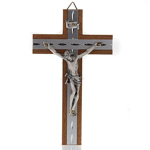 Crocefisso metallo argentato legno alluminio 1