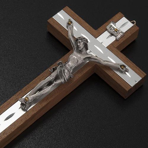 Crocefisso metallo argentato legno alluminio 3