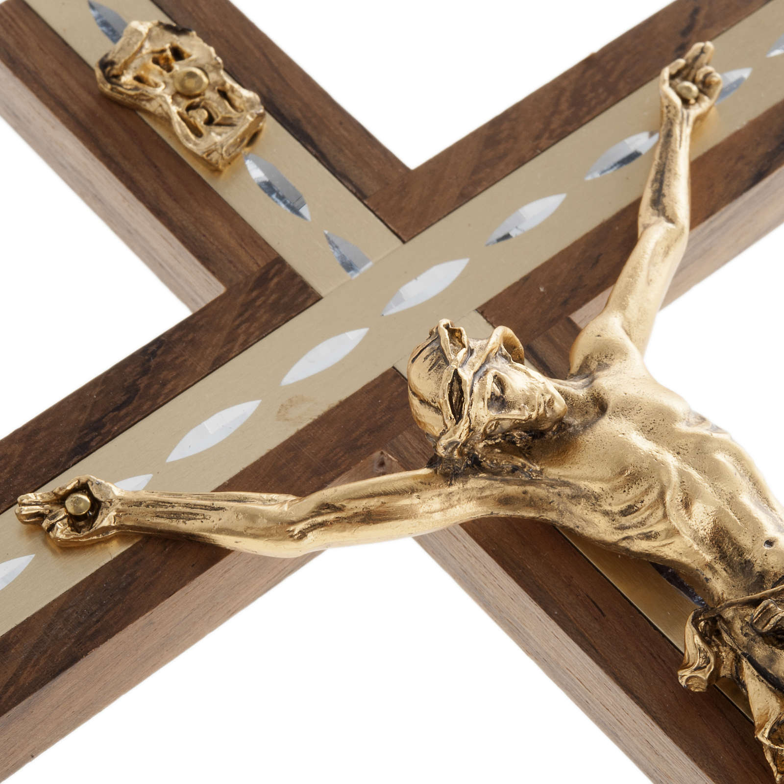 Crucifix, golden metal in walnut wood and aluminium 4