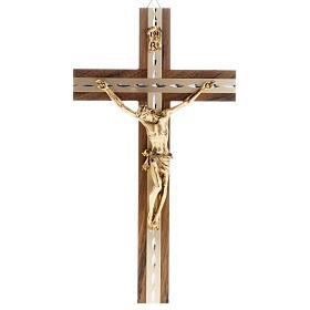 Crucifix, golden metal in walnut wood and aluminium s1