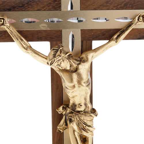 Crucifix, golden metal in walnut wood and aluminium 2