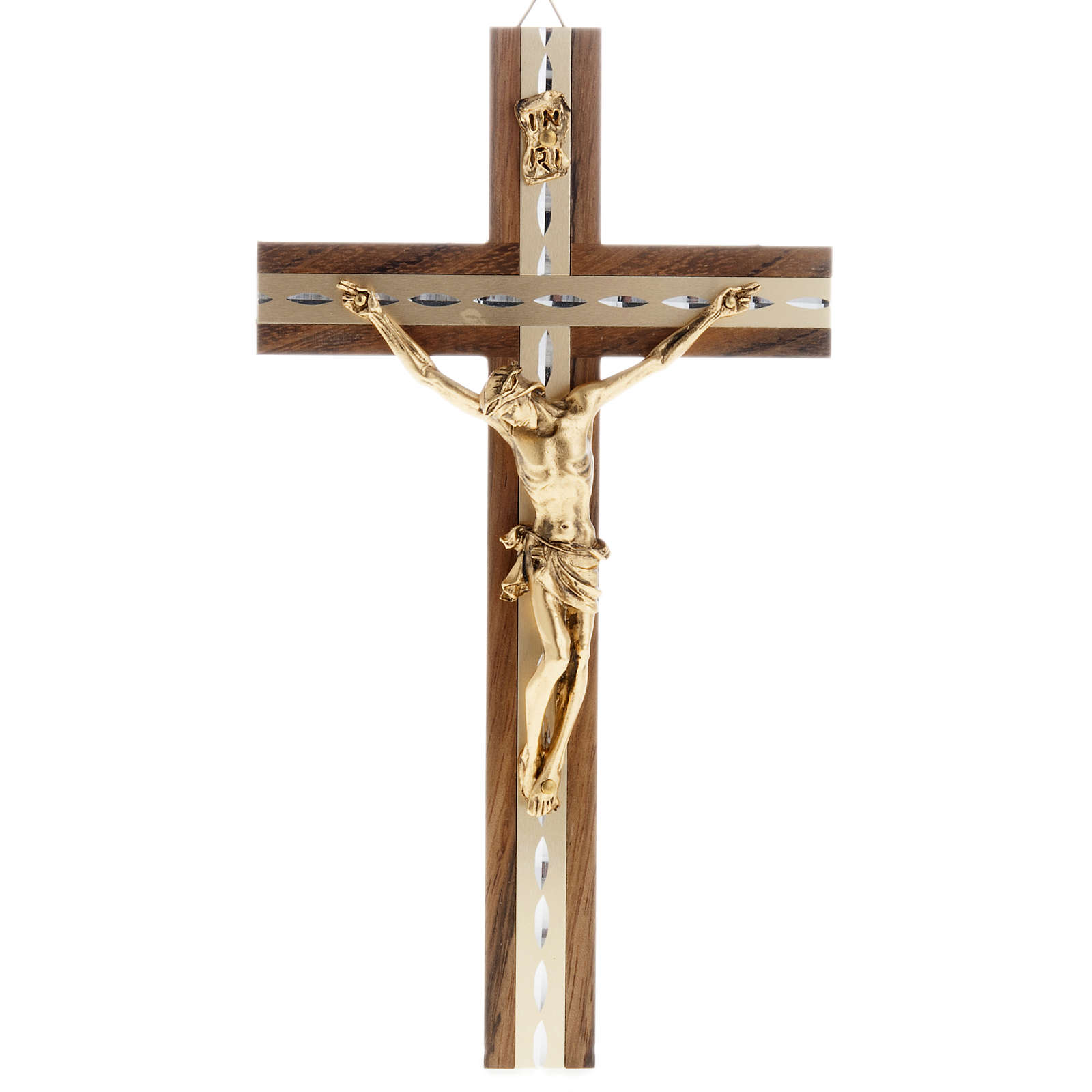 Crucifix, golden metal in walnut wood and aluminium 4