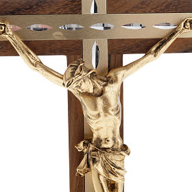 Crucifix, golden metal in walnut wood and aluminium s2