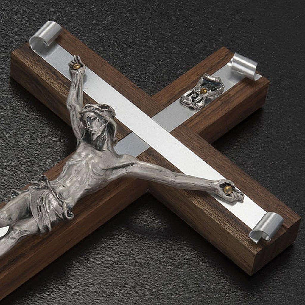 Crocifisso legno di noce metallo argentato alluminio 4