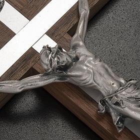 Crocifisso legno di noce metallo argentato alluminio s2