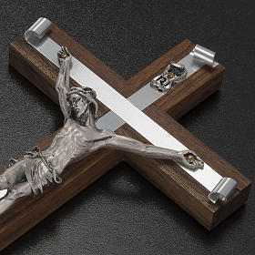 Crocifisso legno di noce metallo argentato alluminio s3