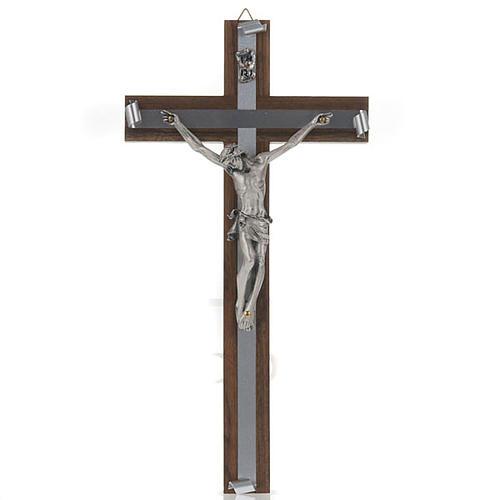 Crocifisso legno di noce metallo argentato alluminio 1