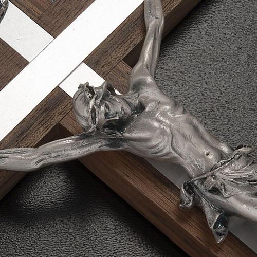 Crocifisso legno di noce metallo argentato alluminio 2