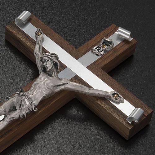 Crocifisso legno di noce metallo argentato alluminio 3