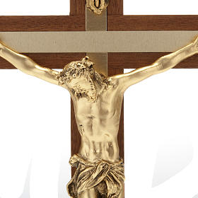 Crucifijo de madera de nogal metal dorado incrustado aluminio s4