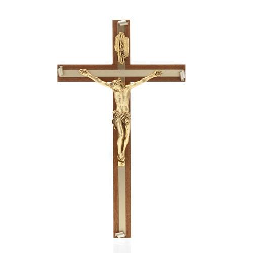 Crucifijo de madera de nogal metal dorado incrustado aluminio 1