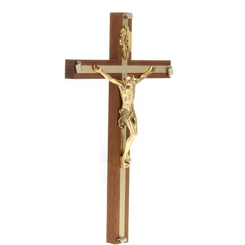 Crucifix bois de noyer métal doré aluminium 3