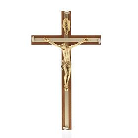 Crocifisso legno noce metallo dorato inserti alluminio s1