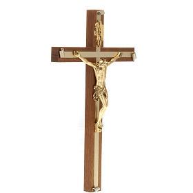 Crocifisso legno noce metallo dorato inserti alluminio s3